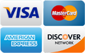 Visa, Mastercard, Discover, American Express Accepted